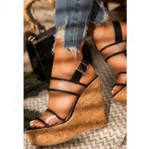 Shoes - !! RESTOCKED !! Cork Wedges in Black/Clear